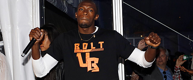 Bolt had DJ duties following his 100m win Friday at Norway's Diamond League meet. (Getty Images)