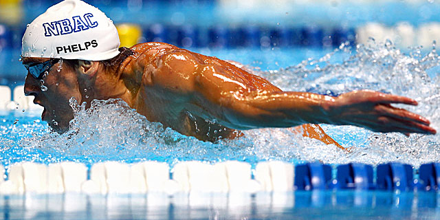 Phelps completes the 200 meter in his signature stroke in 1:53.65. (Getty Images)