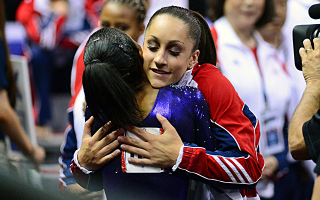 Jordyn Wieber (right) hugs Gabrielle Douglas after the Olympic team trials. (US Presswire)