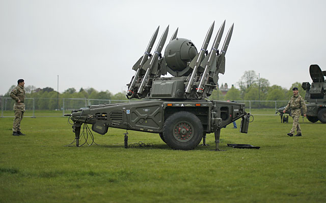 The British military has been conducting pre-Olympics exercises with surface-to-air missiles. (AP)