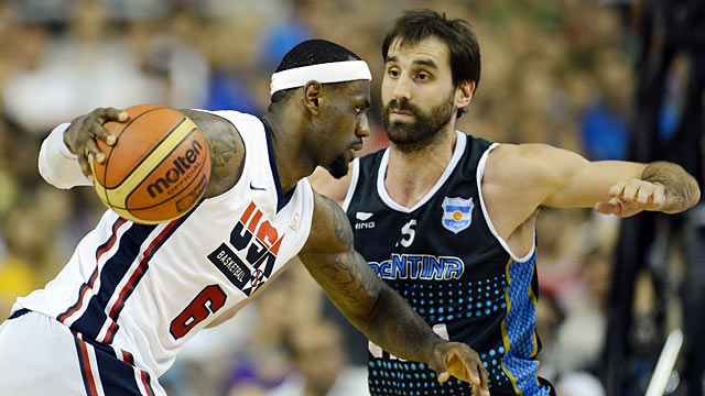 LeBron and the U.S. start off hot but struggle to close out the Argentines. (US Presswire)