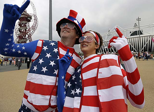 American fans pose outside Olympic Stadium in London before Friday's opening ceremony. (AP)