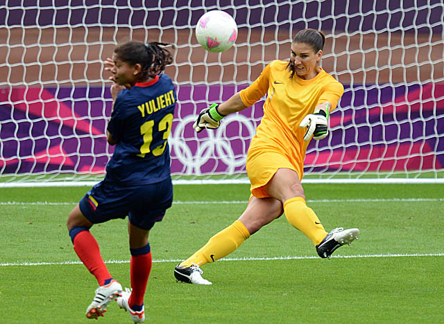 Solo, who held Colombia scoreless Saturday, met with coach Pia Sundhage on Sunday. (Getty Images)