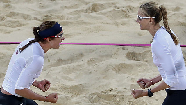 Misty May-Treanor and Kerri Walsh Jennings celebrate their 16th straight Olympics win. (AP)