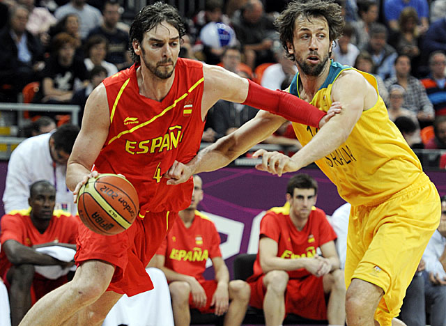 Spain gets a boost from Pau Gasol's 20 points, while brother Marc adds 12. (US Presswire)