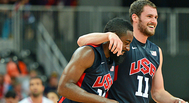 Kevin Love (right) helps the United States open the second half with a 21-3 run. (Getty Images)