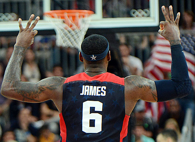 James hits for three of his nine points in the final four minutes vs. Lithuania. (Getty Images)