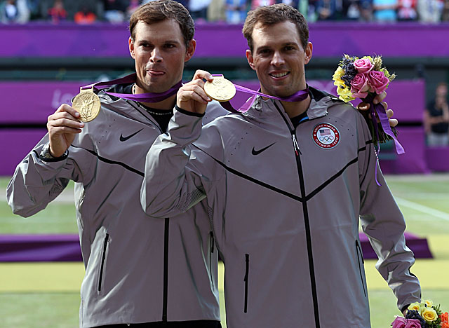 Mike (left) and Bob Bryan, three-time Olympians who won bronze in 2008, take gold in London. (Getty Images)