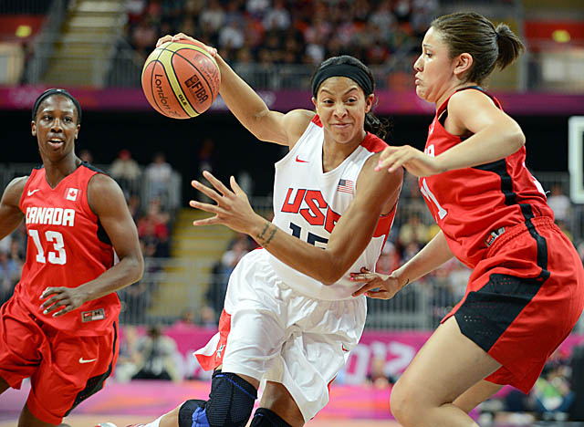 Candace Parker pitches in for 12 points in Team USA's rout of Canada. (Getty Images)