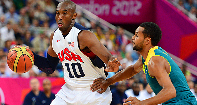 Kobe Bryant scores all 20 of his points in the second half against Australia. (US Presswire)