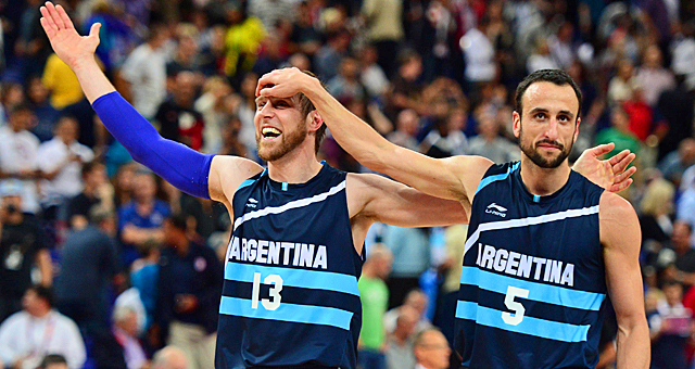 Manu Ginobili (right) and Andres Nocioni celebrate Argentina's trip to the semis for a rematch with the United States. (US Presswire)