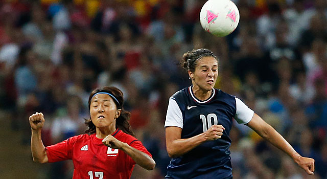 Carli Lloyd (right) scores both goals for the U.S. in its win over Japan. (Getty Images)
