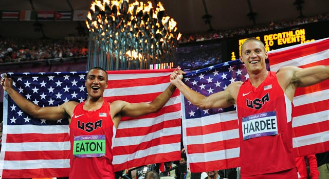 Ashton Eaton and Trey Hardee celebrate the top two spots in the London decathlon. (Getty Images)