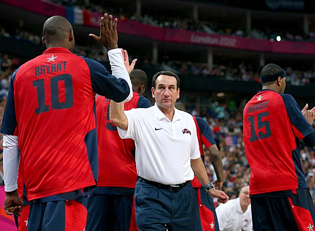 Krzyzewski took over Team USA in 2005 following its third-place finish at the Athens Games. (Getty Images)
