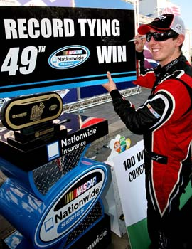 Kyle Busch is the third driver with 100 wins across NASCAR. (Getty Images)