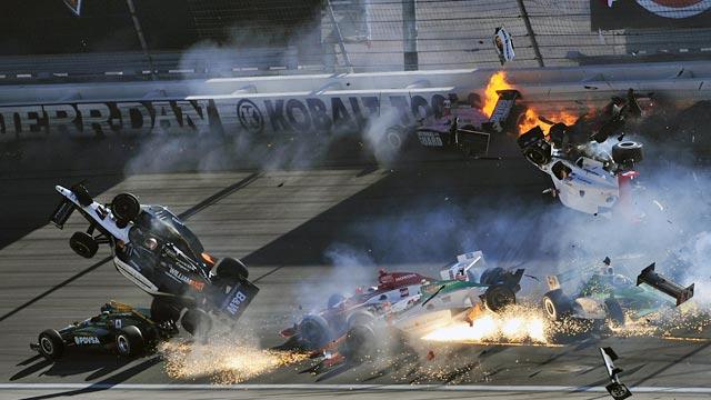 Dan Wheldon's No. 77 car goes airborne Sunday at Las Vegas Motor Speedway. (Getty Images)