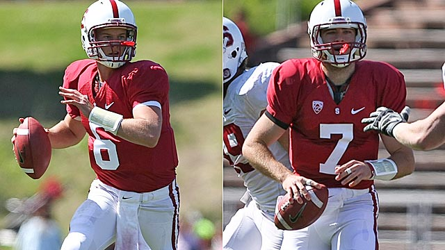 Junior Josh Nunes and sophomore Brett Nottingham are the Cardinal's leading QB candidates. (US Presswire)