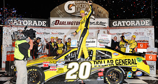Joey Logano celebrates his second straight Nationwide win and third this year. (Getty Images)