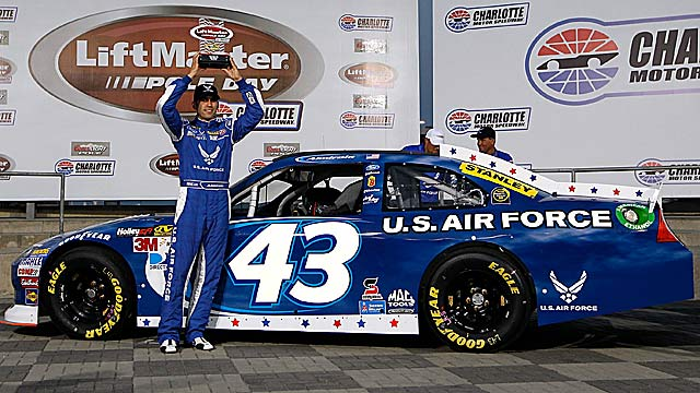 Aric Almirola puts Richard Petty's No. 43 on the Charlotte pole for the first time in 46 years. (Getty Images)