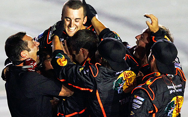 Austin Dillon celebrates his first Nationwide win with his pit crew, but will the win stand? (Getty Images)