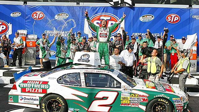 Sadler winds up with his third Nationwide win of the season and eighth of his career. (AP)