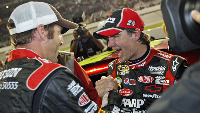 Crew chief Alan Gustafson and Jeff Gordon celebrate after clinching the final spot in the Chase. (AP)