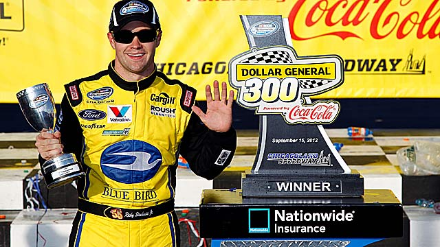 Reigning champ Ricky Stenhouse Jr. regains first place after win No. 5 of 2012. (Getty Images)