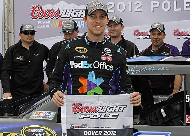 This is the first Dover pole for Denny Hamlin, who seeks his first win at one of his worst tracks. (AP)