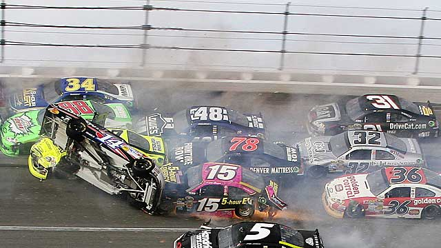 Tony Stewart gets airborne during a massive crash that ended Sunday's race. (AP)