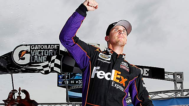 Cup regular Denny Hamlin enjoys his second Truck Series win after starting from the rear. (Getty Images)