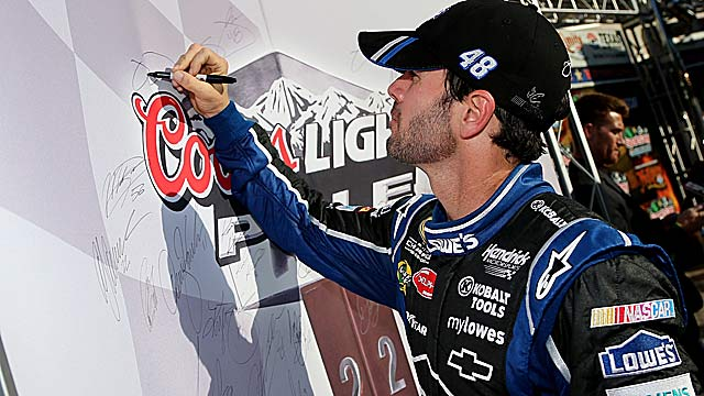 Jimmie Johnson wins his second straight pole as he tries to protect a two-point Chase lead. (Getty Images)