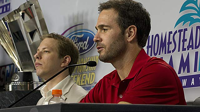 Jimmie Johnson (right) on Brad Keselowski's lead: A 15th-place finish is not a lay-up, things can happen. (AP)