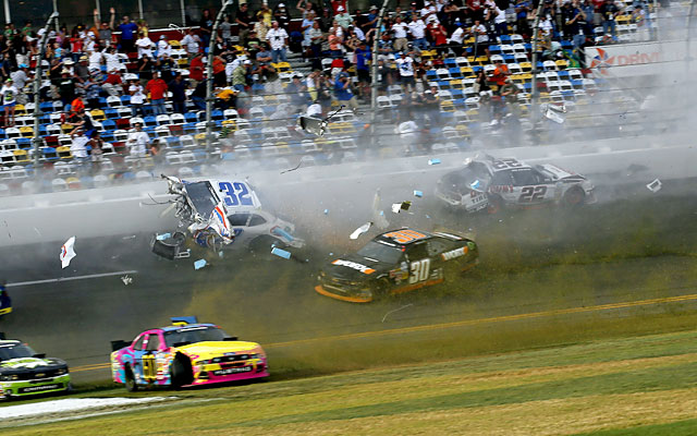 Kyle Larson's car sails dangerously into the fence on the final lap at Daytona. (Getty Images)