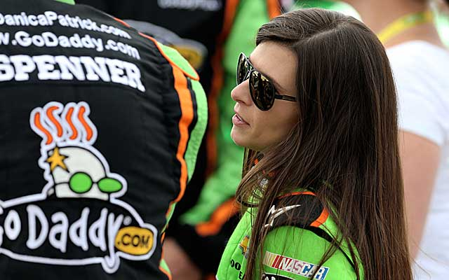 Danica Patrick says she's OK after being hit in the head by a rock Thursday night at a dirt track race. (USATSI)