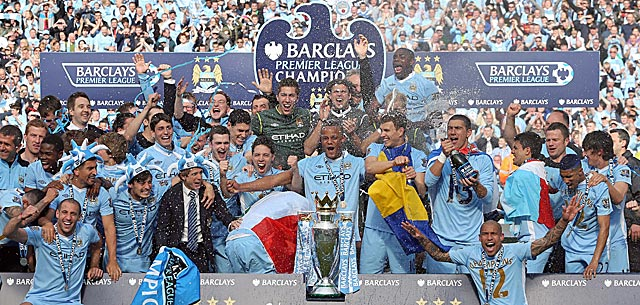 Manchester City players celebrate something that last happened long before they were born. (AP)