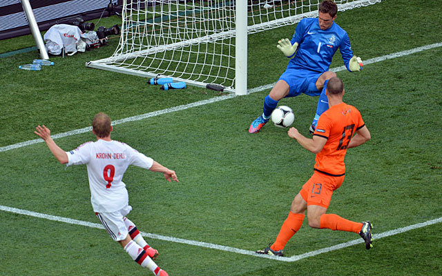 Michael Krohn-Dehli beats goalkeeper Maarten Stekelenburg through the legs for the only goal. (Getty Images)