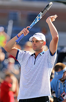 Andy Roddick, one of four former champs to play Arthur Ashe Stadium on Day 1, advances 6-3, 6-2, 6-2. (Getty Images)