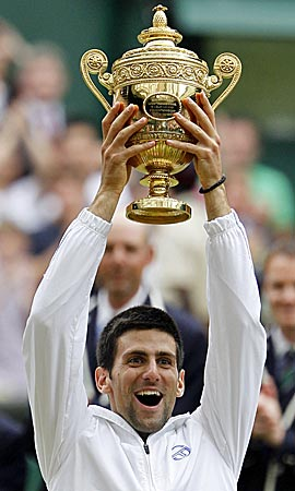 Novak Djokovic finally feels the love on Centre Court. (AP)