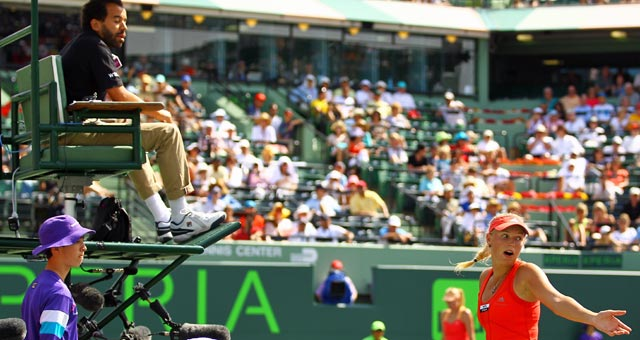 Wozniacki voices her displeasure with a call at the end of her match in the Sony Ericsson Open. (Getty Images)