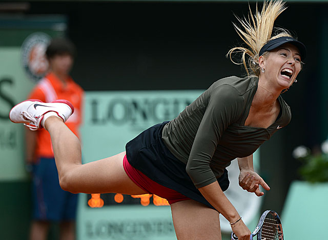 Sharapova wraps up a win despite committing 12 double-faults and losing her serve nine times. (Getty Images)