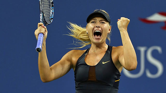 Sharapova rejoices after a long fourth-round battle with Petrova. (Getty Images)