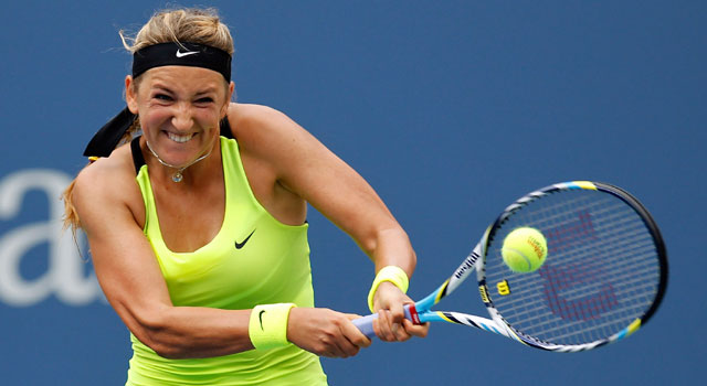 Victoria Azarenka has to fight off Sam Stosur in a third-set tie-breaker. (Getty Images)