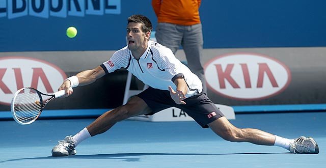 Novak Djokovic goes all out to defeat Radek Stepanek in straight sets. (AP)