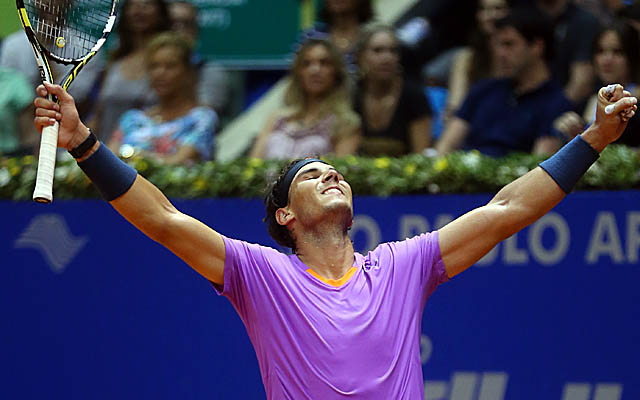 Nadal takes the title in Brazil for the second time, after winning the first in 2005. (AP)