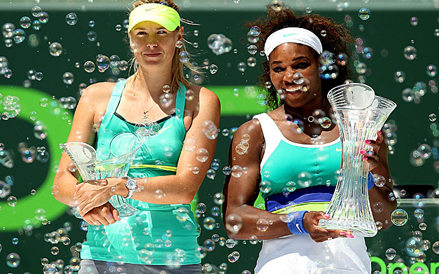 In winning her sixth title here, Williams (right) keeps Sharapova winless in another Sony Open final. (Getty Images)