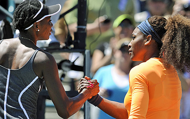 Serena Williams (right) routs Venus Williams 6-1, 6-2, the most one-sided match in the sisters' long rivalry. (AP)