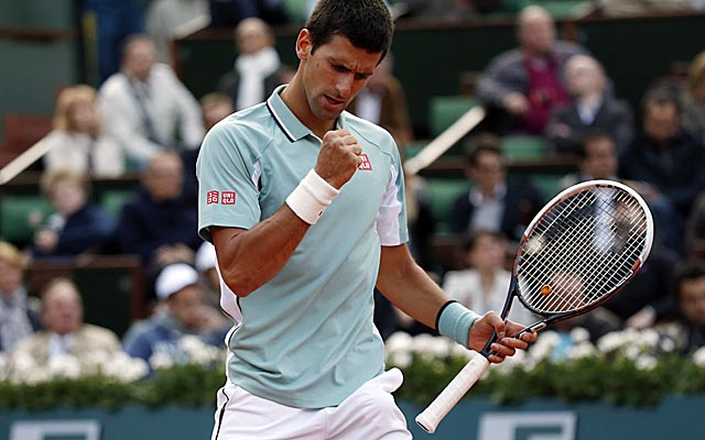 Novak Djokovic takes advantage of a double-fault by David Goffin to win the first set. (Getty Images)