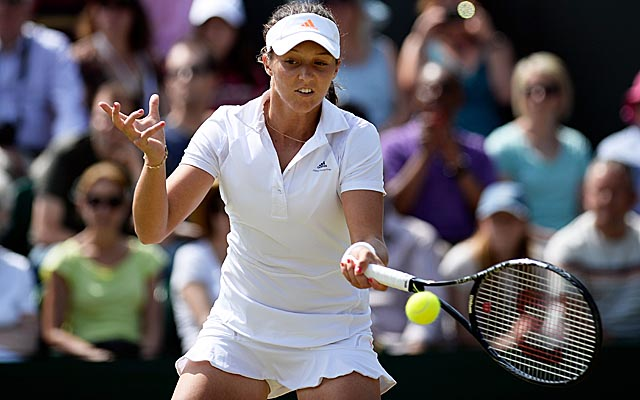 Laura Robson fights off Marina Erakovic to reach Wimbledon's Round of 16 for the first time. (Getty Images)