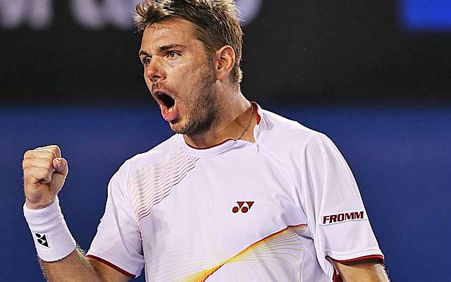 Stan Wawrinka celebrates his semfinal win over Tomas Berdych. (Getty Images)