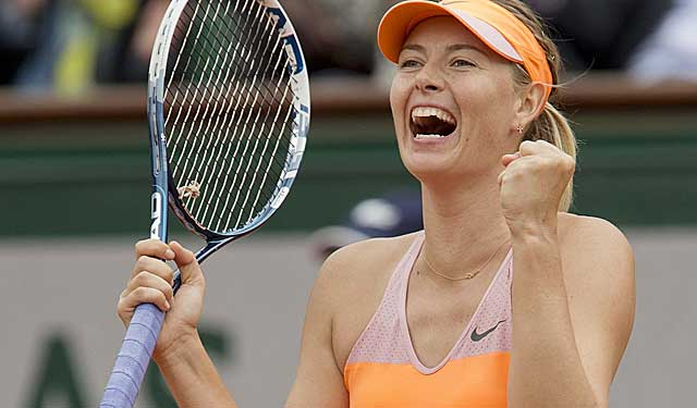 Maria Sharapova celebrates after recording match point Tuesday. (USATSI)
